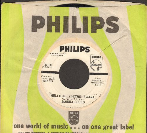 Gould, Sandra - Hello Melvin (This Is Mama)/My Son The Surfer (DJ advance pressing with Philips company sleeve) - VG7/ - 45 rpm Records
