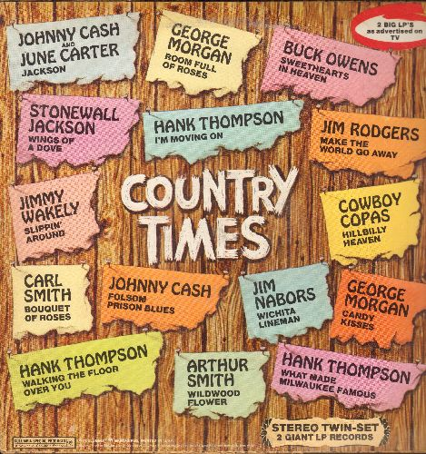 Cash, Johnny, Jimmy Dean, Hank Thompson, others - Country Times: Big Bad John, I Fall To Pieces, My Elusive Dreams, Candy Kisses (2 vinyl STEREO LP records) - EX8/EX8 - LP Records