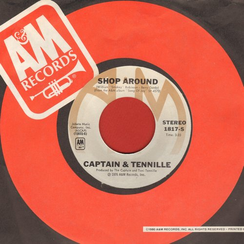Captain & Tennille - Shop Around/Butterscotch Castle (with A&M company sleeve) - EX8/ - 45 rpm Records