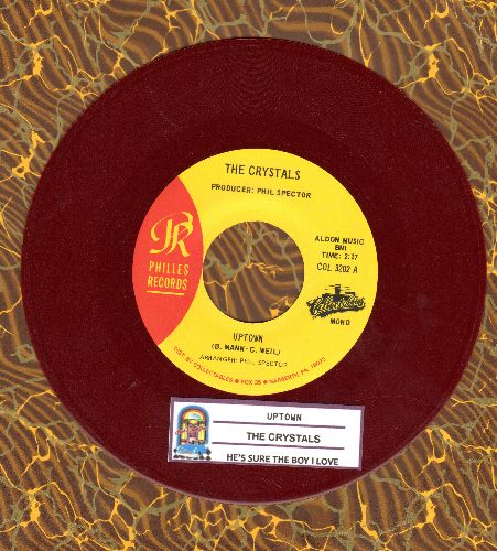 Crystals - He's Sure The Boy I Love/Uptown (authentic-looking RED VINYL double-hit reissue with juke box label) - NM9/ - 45 rpm Records