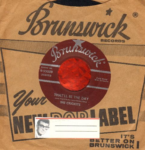 Crickets - That'll Be The Day/I'm Looking For Someone To Love (burgundy label first pressing with RARE vintage Coral company sleeve) - EX8/ - 45 rpm Records