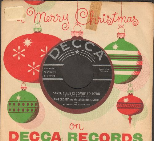 Crosby, Bing & The Andrews Sisters - Santa Claus Is Coming To Town/Jingle Bells (black label, silver lines/star 1950s issue of vintage recordings, with RARE Decca company sleeve) - NM9/ - 45 rpm Records