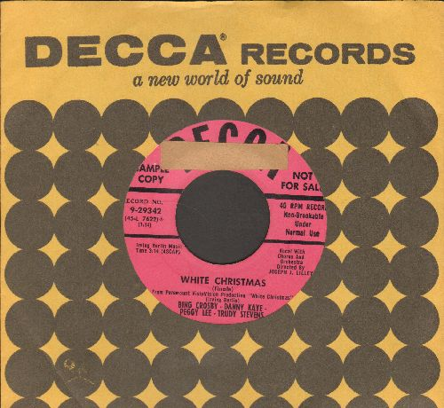Crosby, Bing, Danny Kaye, Peggy Lee, Trudy Stevens - White Christmas (Finale from film -White Christmas-)/Snow (DJ advance pressing with vintage Decca company sleeve) (sol) - EX8/ - 45 rpm Records