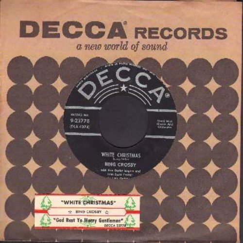 Crosby, Bing - White Christmas/God Rest Ye Merry Gentlemen (black label/silver lines early issue with vintage Decca company sleeve and juke box label) - EX8/ - 45 rpm Records