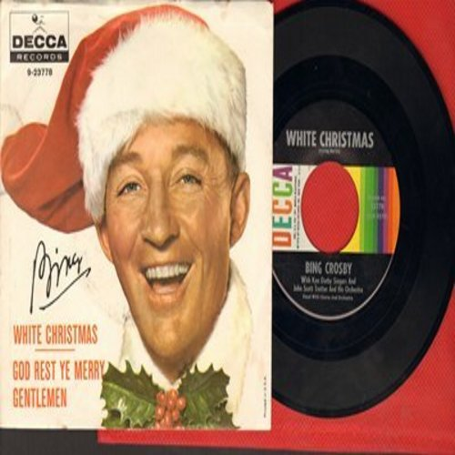 Crosby, Bing - White Christmas/God Rest Ye Merry Gentlemen (multi-color early 1960s issue with picture sleeve)  - NM9/EX8 - 45 rpm Records