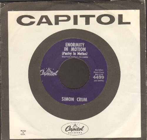 Crum, Simon - Enormity In Motion (Poetry In Motion)/Cuzz Yore So Sweet (with Capitol company sleeve) - VG7/ - 45 rpm Records