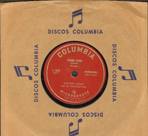 Cugat, Xavier & His Orchestra - Mambo Negro/Anything Your Heart Desires (RARE 7 inch 33 rpm heavy Microgroove, small spindle hole, with Columbia company sleeve) - VG7/ - 45 rpm Records