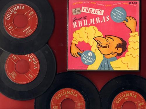 Cugat, Xavier & His Orchestra - Cugat's Favorite Rhumbas: La Paloma/Cielito Lindo/Besame Mucho + 5 (4 vintage 7 inch 45rpm records in Box Set) - EX8/VG7 - 45 rpm Records