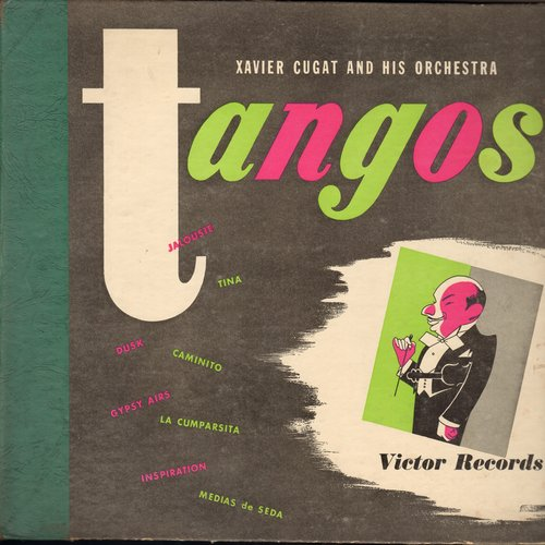 Cugat, Xavier & His Orchestra - Tangos - Set of 4 10 inch 78rpm records with 8 songs in original cardboard album. - EX8/EX8 - 78 rpm