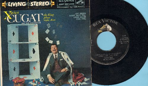 Cugat, Xavier - The King Plays Some Aces: Oye Negra/Night Must Fall/Linda Mujer/Chiu Chiu (vinyl EP record with picture cover) - EX8/EX8 - LP Records