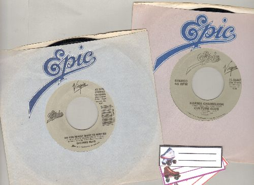 Culture Club - 2 double-hit re-issue 45s with Epic company sleeve and 3 blank juke box labels. (Both 45s feature Do You Want To Hurt Me, with Karma Cameleon and Church Of The Poison Mind on B-sides) - NM9/ - 45 rpm Records
