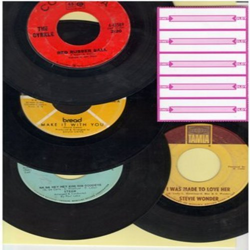 Bread, Cyrkle, Stevie Wonder, Steam - 60s Groovy 4-Pack: Forst issue 45s include Make It With You, Red Rubber Ball, I Was Made To Love Her and Na Hey Hey Kiss Him Goodbye. Shipped in plain white paper sleeves with 5 blank juke box labels. - EX8/ - 45 rpm