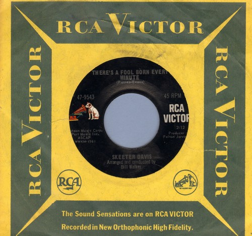 Davis, Skeeter - There's A Fool Born Every Minute/I Can't See Past My Tears (with vintage RCA company sleeve) - NM9/ - 45 rpm Records