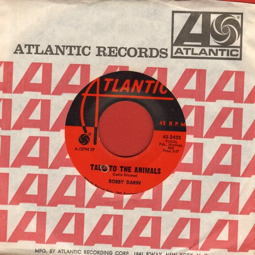 Darin, Bobby - Talk To The Animals (from film -Doctor Doolittle-)/She Knows (with Atlantic company sleeve)(bb) - EX8/ - 45 rpm Records