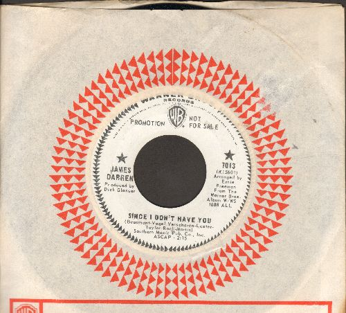 Darren, James - Since I Don't Have You/I Miss You So (DJ advance pressing in MINT condition with vintage Warner Brothers company sleeve) - M10/ - 45 rpm Records