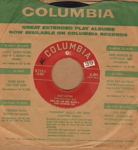 Day, Doris - Crazy Rhythm/Here In My Arms (with vintage Columbia company sleeve) - VG7/ - 45 rpm Records