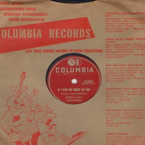 Day, Doris - If I Give My Heart To You/Anyone Can Fall In Love (RARE 10 inch 78rpm record with vintage Columbia company sleeve) - VG7/ - 78 rpm