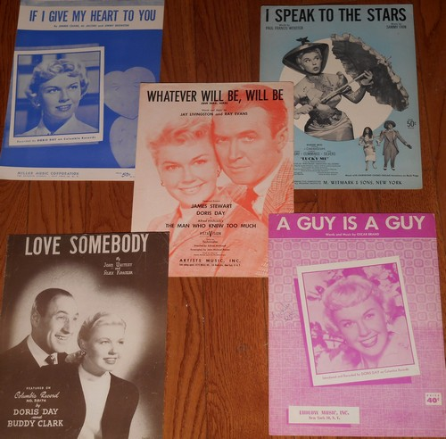 Day, Doris - Vintage Sheet Music - Set of 5 (exactly as pictured!) by Doris Day. Originals from the 1940s and 50s. - EX8/ - Sheet Music
