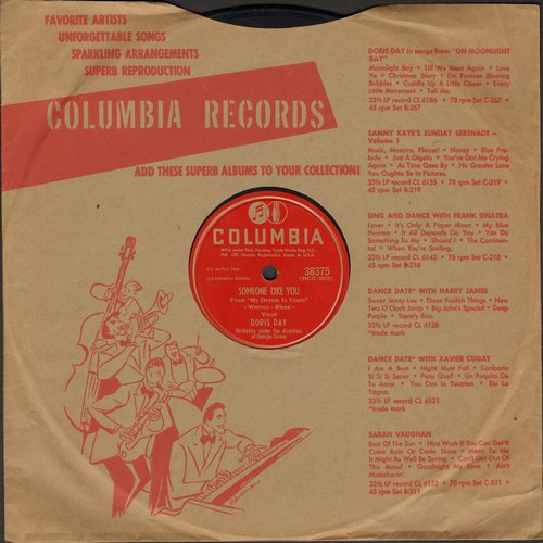 Day, Doris - Someone Like You/My Dream Is Yours (10 inch 78 rpm record with Columbia company sleeve) - VG7/ - 78 rpm