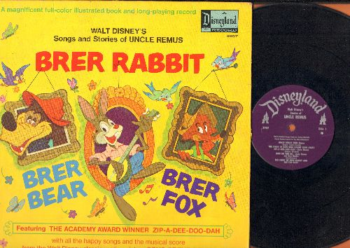 Disney - Uncle Remus - Brear Rabbit/Brer Fox - Includes Academy Award Winning Song -Zip-A-Dee-Doo-Dah- (vinyl MONO LP record with picture pages story) - VG7/VG7 - LP Records
