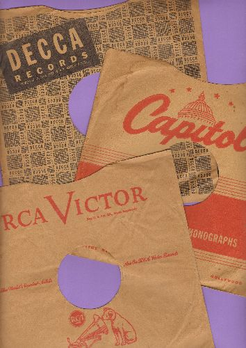 Company Sleeves - 3 Vintage 10 inch Company sleeves for 78 rpm records. Includes Capitol, Decca and RCA. Nice touch to display and store your collectible 78 rpm records! - VG7/ - Supplies