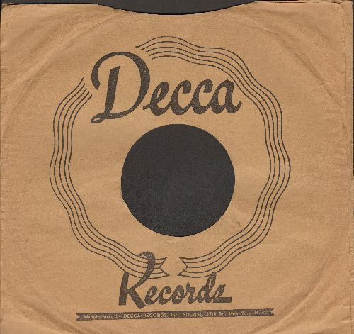 Company Sleeves - 10 inch vintage Decca company sleeve (exactly as pictured), shipped in 10 inch clear plastic sleeve. Enhances and protects you collectable 10 inch 78 rpm record! DUE TO POST OFFICE REGULATIONS THIS ITEM CAN ONLY BE SENT PRIORITY MAIL.  Y