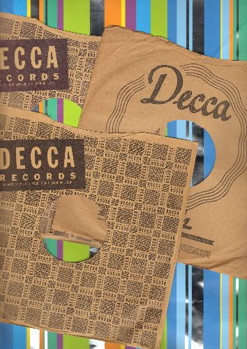 Company Sleeves - 3 vintage 10 inch DECCA Company sleeves for 78 rpm records. Nice touch to display and store your collectible 78 rpm records! - VG7/ - Supplies