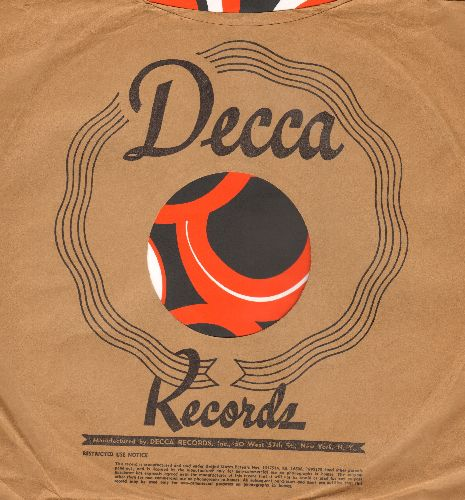 Company Sleeves - Vintage Decca company sleeve. 10 inch sleeve for 78 rpm records. NICE toch to enhance the appearance of your collectable 78 rpm records! - EX8/ - Supplies