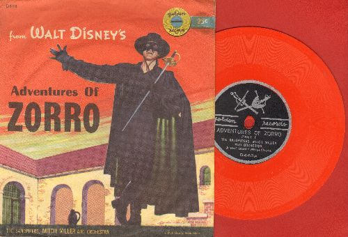 Sandpipers & Mitch Miller Orchestra - Walt Disney's Adventures Of Zorro (Parts 1 + 2) (5 inch Little Golden Record with picture sleeve) - VG7/EX8 - 45 rpm Records