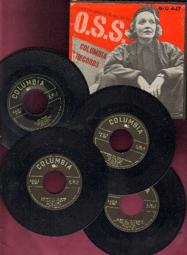 Dietrich, Marlene - American Songs in German for the O.S.S.: Lili Marlene/Annie Doesn't Live Here Anymore/Miss Otis Regrets + 5 (RARE 1952 Box Set of 4 vinyl 45s, 1952 issue) - NM9/VG7 - 45 rpm Records