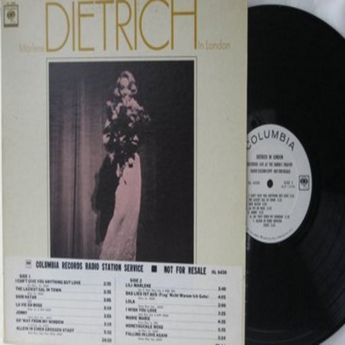 Dietrich, Marlene - Dietrich in London - Recorded LIVE: The Laziest Gal In Town, Lili Marlene, La Vie En Rose, Johnny, Falling In Love Again (vinyl LP record, DJ advance pressing, track sticker on front cover) - NM9/NM9 - LP Records