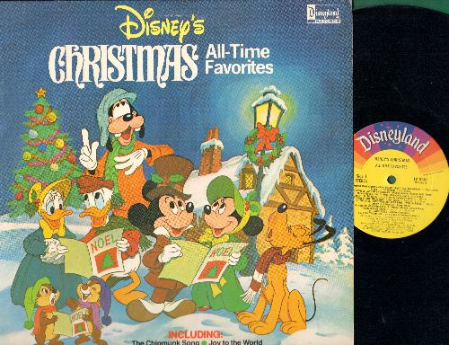 Disney - Disney's Christmas All-Time Favorites: Chipmunk Song, White Christmas, Here Comes Santa Claus, Winter Wonderland, Sleigh Ride, Jingle Bells, Silent Night (vinyl LP record) - VG7/NM9 - LP Records