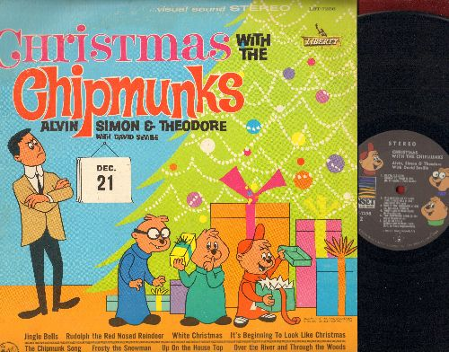 Chipmunks - Christmas With The Chipmunks: The Chipmunk Song, Santa Claus Is Comin' To Town, Frosty The Snow Man, Rudolph The Red-Nosed Reindeer (vinyl LP record, early re-issue of vintage recordings) - EX8/VG7 - LP Records