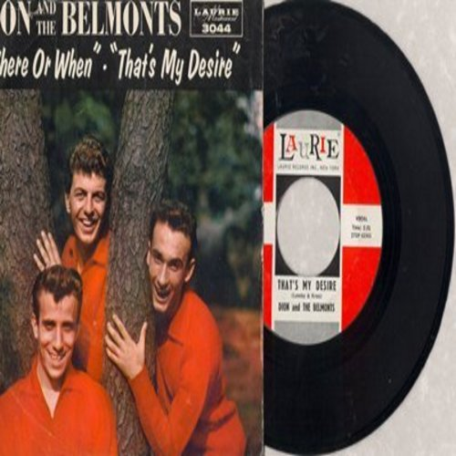 Dion & The Belmonts - That's My Desire/Where Or When (with RARE picture sleeve, NICE condition!) - M10/NM9 - 45 rpm Records
