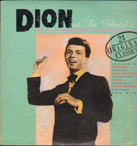 Dion & The Belmonts - 24 Original Classics: Runaround Sue, The Wanderer, A Teenager In Love, Donna The Prima Donna, Sandy (2 vinyl LP records, gate-fold cover, re-issue of vintage recordings) - EX8/VG6 - LP Records