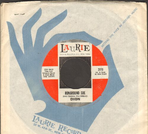 Dion - Runaround Sue/Runaway Girl (with Laurie company sleeve)(ssol) - EX8/ - 45 rpm Records