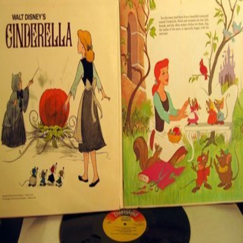 Disney - Cinderella - A magnificent full-color illustrated book and vinyl MONO LP record. Enjoy the story and the songs from the Disney Classic! - VG7/VG6 - LP Records