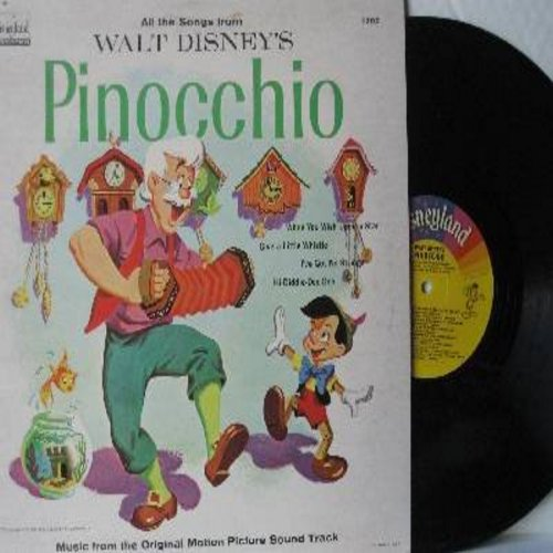 Disney - Pinocchio: All The Songs From the Original Motion Picture Sound Track - Includes the Oscar Winning Song -When You Wish Upon A Star- (vinyl LP record) - NM9/VG7 - LP Records