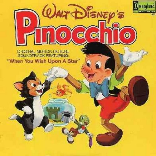 Disney - Pinocchio: Music From the Original Motion Picture Sound Track - Includes the Oscar Winning Song -When You Wish Upon A Star- (vinyl LP record) - EX8/NM9 - LP Records