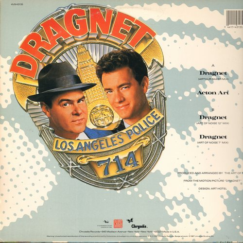 Art Of Noise - Dragnet (6:12 minutes Arthur Baker Hip Hop Mix)/Dragnet (5:55 Art of Noise 12 inch Mix)/Dragnet (3:03 7 inch Mix) (12 inch 45rpm Maxi Single with picture cover) - NM9/EX8 - Maxi Singles