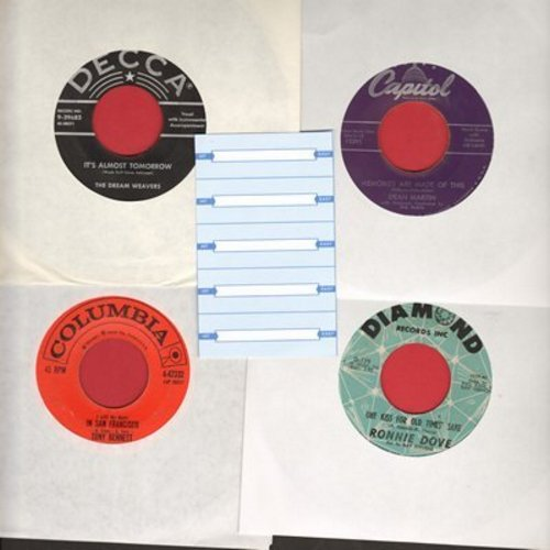 Bennett, Tony, Ronnie Dove, Dream Weavers, Dean Martin - Set of 4 first issue 45s with 5 blank juke box labels, exactly as pictured. NICE set of Easy Listening Hits for a juke box or to add to your collection. Shipped in plain white sleeves. - VG7/ - 45 r
