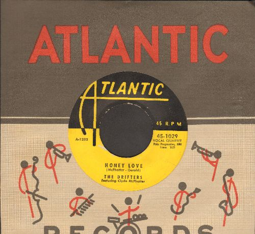 Drifters - Honey Love/Warm Your Heart (yellow label early issue with reproduced Atlantic company sleeve) - VG7/ - 45 rpm Records