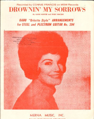 Francis, Connie - Drowning My Sorrows - SHEET MUSIC for the song made popular by Connie Francis, NICE cover portrait of Connie Francis! (minor woc) - EX8/ - 45 rpm Records