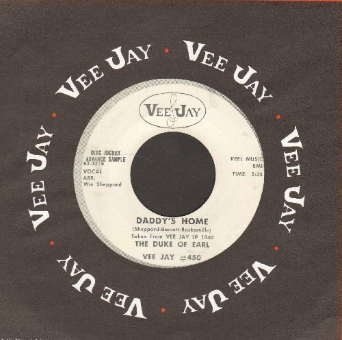 Duke Of Earl (Gene Chandler) - Daddy's Home/The Big Lie (Gene Chandler billed as Duke of Earl, DJ advance pressing with Vee-Jay company sleeve) - EX8/ - 45 rpm Records