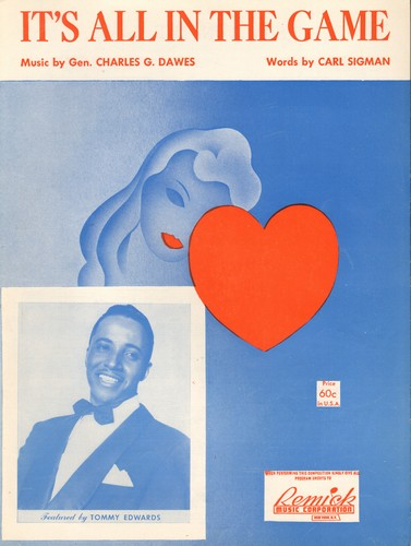 Edwards, Tommy - It's All In The Game (Many-A Tear Has To Fall) - Vintage SHEET MUSIC for the Standard most successfully recorded by Tommy Edwards (NICE cover art!) - EX8/ - Sheet Music