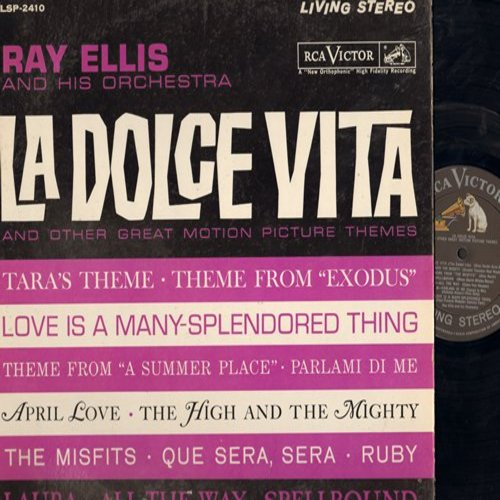 Ellis, Ray & His Orchestra - La Dolce Vita and other Great Motion Picture Themes: Tara's Theme, Exodus, A Summer Place, The High And The Mighty (vinyl LP record, Living Stereo issue) - NM9/VG7 - LP Records