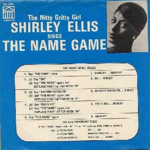 Ellis, Shirley - The Name Game (PARTY FAVORITE!)/Whisper To Me Wind (with picture sleeve, gives instructions for how to play the Name Game!) - NM9/EX8 - 45 rpm Records