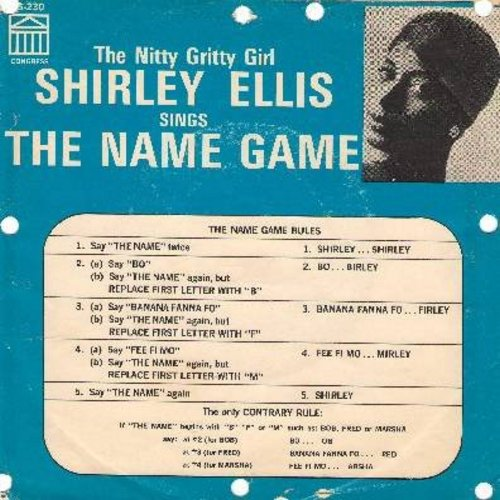 Ellis, Shirley - The Name Game (PARTY FAVORITE!)/Whisper To Me Wind (with picture sleeve, gives instructions for how to play the Name Game!) - EX8/VG6 - 45 rpm Records