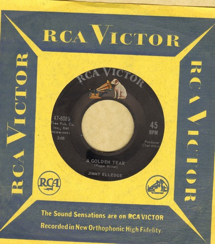 Elledge, Jimmy - A Golden Tear/I'll Get By (Don't Worry)(with vintage RCA company sleeve) - EX8/ - 45 rpm Records