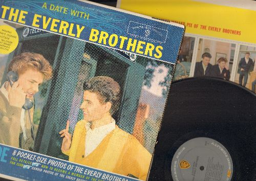 Everly Brothers - A Date With The Everly Brothers: Made To Love,  Love Hurts, Lucille, Donna Donna, Cathy's Clown (vinyl MONO LP record, gray label in gate-fold cover with BONUS picture sheet!) - EX8/VG7 - LP Records